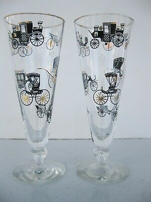 Set of 2 Vtg Mid-Century Modern Pilsner Glasses Antique Cars & Carriages