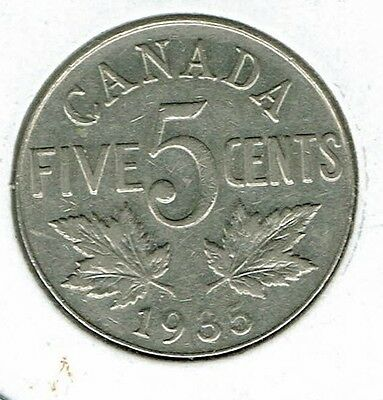1935 Canadian Circulated  George V Nickel Five Cent Coin!