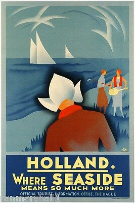 1920s Holland - Dutch Seaside Europe European Travel Art Poster Advertisement