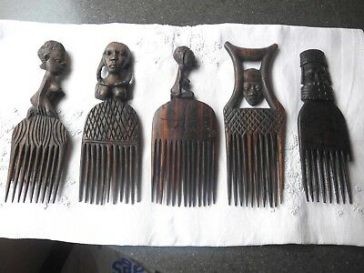 X5 Old/ Vintage African Wooden Combs Hand Carved Tribal
