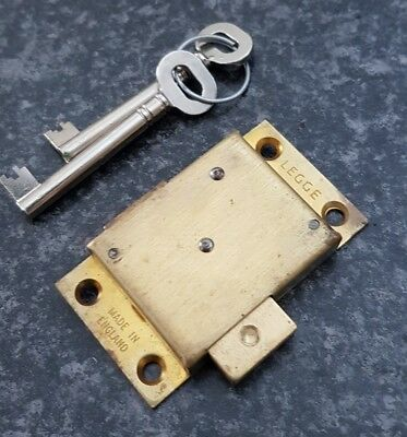 Vintage Legge solid brass Victorian Drawer cabinet lock/cupboard,& 2 keys