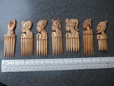X7 Old/ Vintage African Bone Combs Hand Carved Tribal