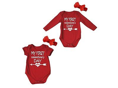 Personalize My First Valentine's Day Red Baby Romper Bodysuit Jumpsuit NB-18M