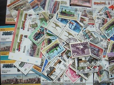 50 TRAINS Transport Stamps All Different Thematic World CTO's/Genuine Postage