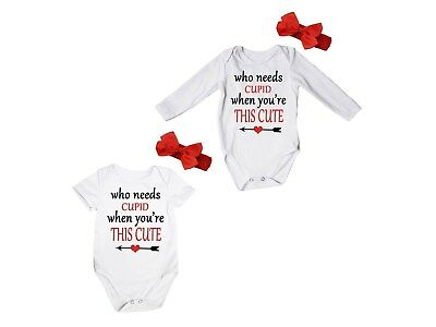 Who Needs Cupid When You're This Cute White Baby Romper Bodysuit Jumpsuit NB-18M