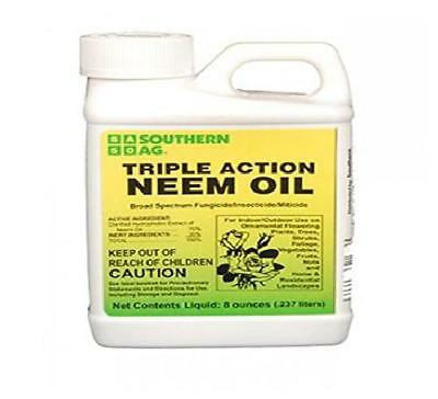 Southern Ag Triple-Action Neem Oil Natural Insecticide Fungicide Miticide, 8 Oz
