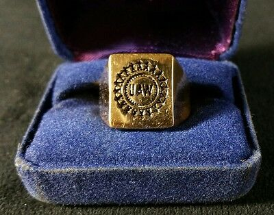 Vintage Brass Men's United Auto Workers UAW Ring Size 9.5 In Original Box V FINE
