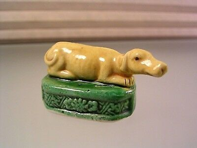 Vintage Chinese Porcelain Greyhound Whippet Recumbent Dog Figurine Tang Glaze