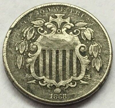 1868 Shield Nickel Without Rays U.s. Coin * Free Ship