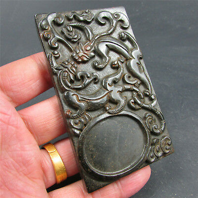 Chinese exquisite hard jade jadeite hand-carved pendant Necklace ink stone 218
