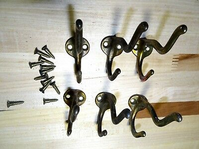 SIX  VINTAGE COAT HOOKS with ORIGINAL SCREWS  antique, victorian, knobs, door