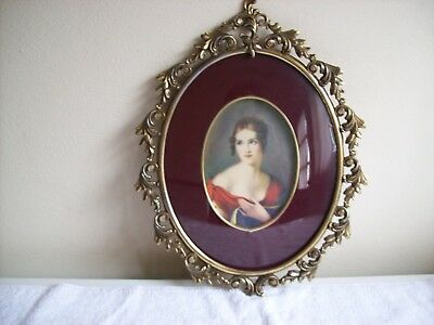 Vintage Bubble Glass Oval Gold Brass Metal Scroll Ornate Frame Victorian Lady