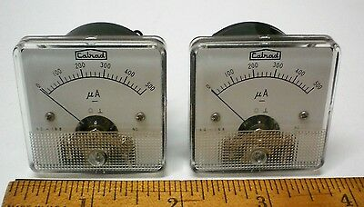 "2 New DC Microamp Panel Meters 0-500 UA 1 5/8"" New in box CALRAD #60-168 Japan"