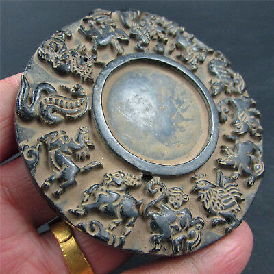 Chinese exquisite hard jade jadeite hand-carved pendant Necklace ink stone 225