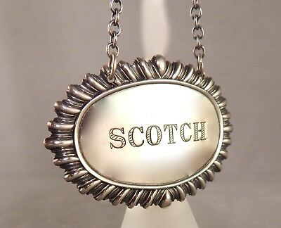 Early 20th Century Sterling Silver Scotch Liquor Bottle Label w/ Embossed Border