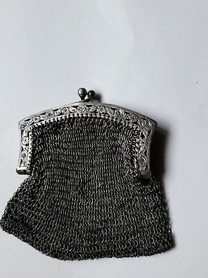 antique mesh purse coin purse Kettentasche Silber 800