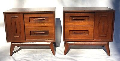 Mid Century Modern Nightstands End Side Tables Set Pair Vintage Asymmetrical MCM