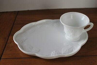 Indiana Glass Colony Harvest 2-Pc Snack Set White Milk Glass Plate Cup Grape