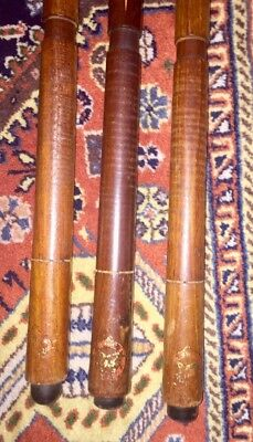 3 Early Brunswick 1 Piece Pool Cues Wrapped Handle Model