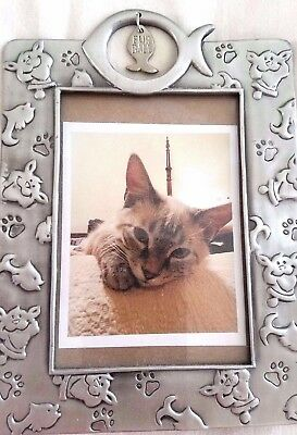"Photo Frame 7""x5"" Heavy Solid Pewter Cat 4.5 "" X 3"" Photo Size"