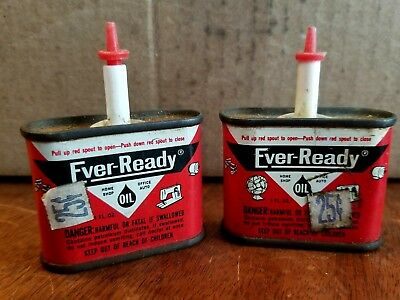 "Vintage Ever Ready Oil Tin Can's 3"" tall ~ Complete w/ Red Pull Spout & 25c Tags"