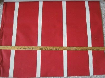 BTY Mid Century Red White Stripe Awning Fabric Waterproof Canvas Vintage NOS