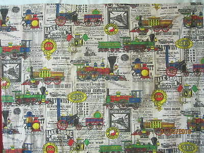 Vintage 1960's cotton Cafe Curtain Panel antique Train Engines with schedules