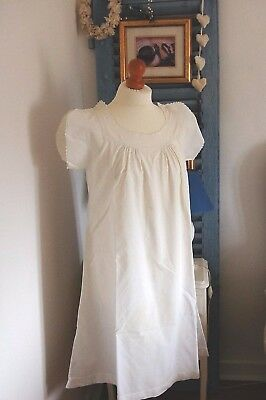 "LOT 5 Vintage FRENCH Nightdresses Summer White Cotton Nightgowns 42"" 44"" 46"" XL"