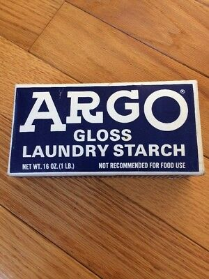 Vintage  Argo Gloss Laundry Starch 16 Oz. Blue Box Unopened