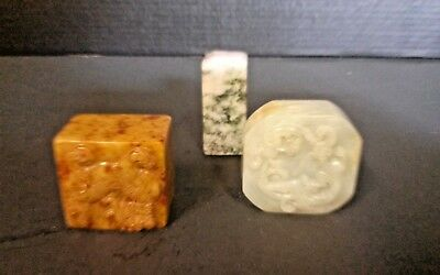 Lot of 3 Chinese stone carved chop seal statue