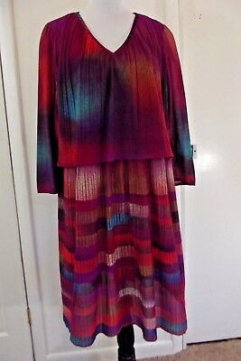Vintage 60s 70s Colorful Layered DRESS ~ L/XL  Union Made by Lady Match Mates N