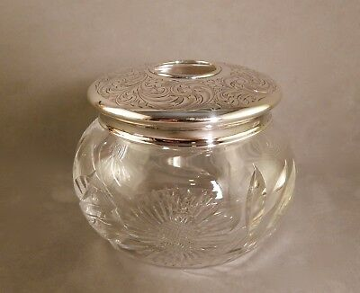 Ca.1910 Cut Glass Dresser Jar w/Brite-Cut Floral Engraved Sterling Silver Lid NR