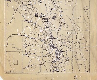Old Ethnogeaphical Map Owens Valley Panamint, Shoshoni, Paiute, Inyo Mono Co Ca