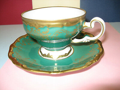 WEIMAR demi coffee cup saucer duo  Kelly Green   GOLD Katharina Vintage