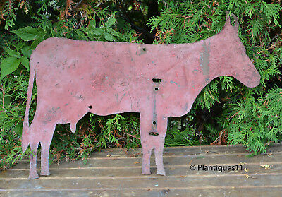 """Vintage Steel Red Painted DAIRY COW Weathervane Quebec Hand made 21"""" primitive"""