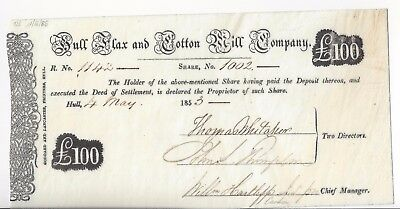Hull Flax and Cotton Mill Co, Aktie 1853