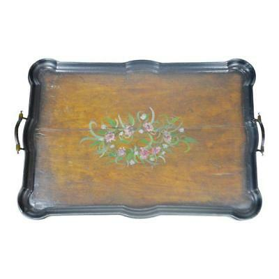 Antique Hand Painted Wood Serving Tray