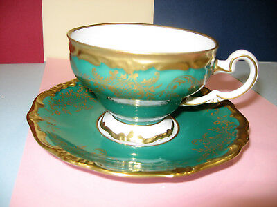 WEIMAR Full size Teacup and saucer  duo  Kelly Green  GOLD Katharina Vintage