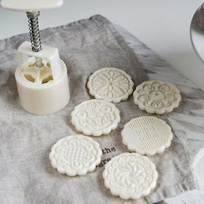 Cookie Stamp Moon Cake Mold with 6 Stamps, Cookie Press Mid Autumn Festival DIY