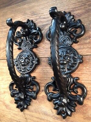 2 Ornate Pulls Handles Door Rustic cast iron antique style Barn Shed Gate 9""