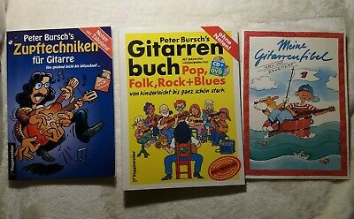 2x Peter Bursch's Gitarrenbuch Pop, Rock, Zupftechnik, 1x Gitarrenfibel Teuchert