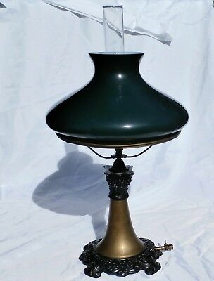 Old Brass Gas Table Lamp , Very Dark Green Shade . Not Electrified