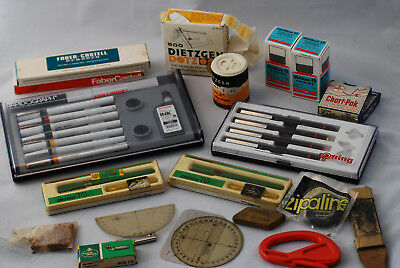 Vintage Drafting Pen Lot: Koh-i-Noor Rapidograph, Rotring, Castell, and more!