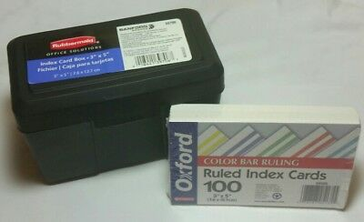 Rubbermaid Index Card Box with Oxford Color Bar Index Cards Project Combination