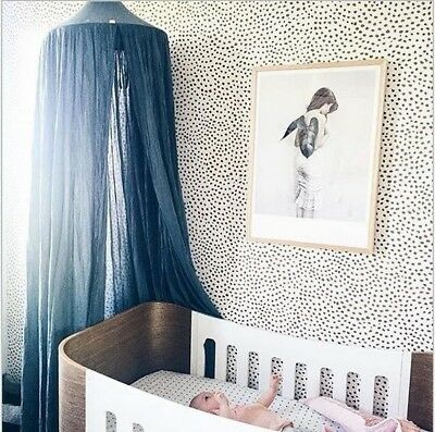 Canopy Tent Mosquito Net Dome Baby Nursery Crib Bedroom Cotton - Navy Blue