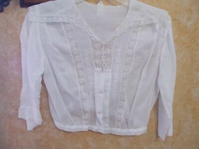 Antique Victorian Vintage 1800's White Linen Blouse with Mother of Pearl Buttons