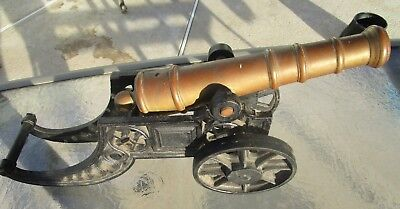 "Large Impressive Brass Cannon with Iron Gun Carriage 18"" Long #2"