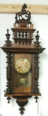 Antique / Vintage German Junghans 8 day chiming Wall Clock fwo with key