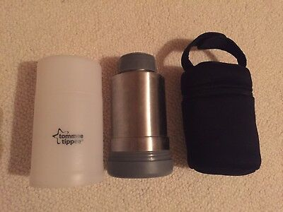 Tommee Tippee travel bottle warmer flask and insulated bottle carrier