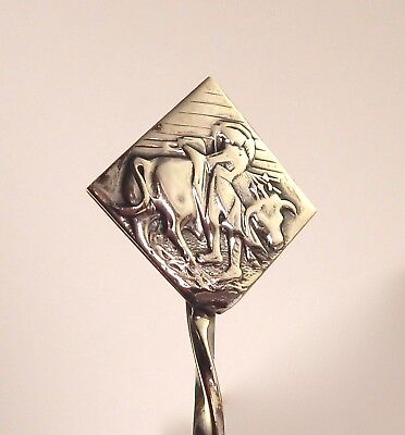 Signed Saul Mexican Mexico 925 Sterling Silver Mixing Spoon Bull Fighter/Matador